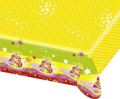 Ubrus šťastné narozeniny dort 120cm x 180cm
