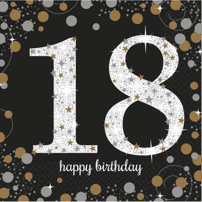 Ubrousky 18. narozeniny 16 ks 33 cm x 33 cm