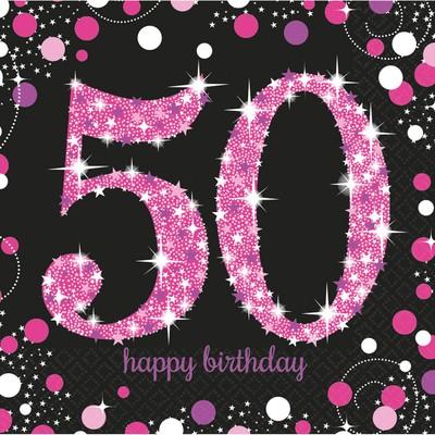 Ubrousky 50. narozeniny 16 ks 33 cm x 33 cm