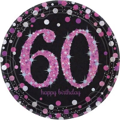 Talíře 60. šťastné narozeniny pink 8 ks 23 cm