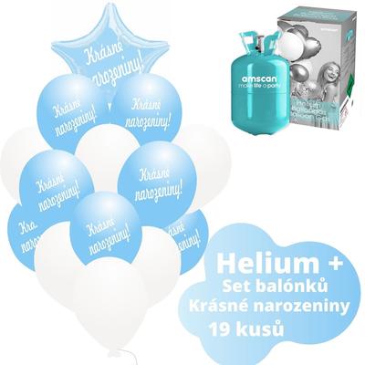 Helium sada - světlemodré balónky s českým potiskem KRÁSNÉ NAROZENINY