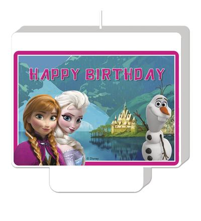 Frozen svíčka šťastné narozeniny 9cm x 8,5cm