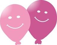 Balonek s potiskem smajlik 5ks ruzový