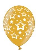 Stars balonek metallic zlatý s plným potiskem
