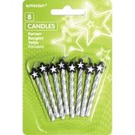 Dortové svíčky stříbrné s hvězdou 8ks