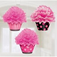 Závěsná dekorace Cupcakes 3 ks 26 cm