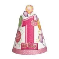 Čepičky 1. narozeniny holčičí 8ks