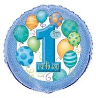 1. narozeniny foliový balonek modrý 45cm