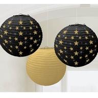 Lampiony černé a zlaté hvězdy 3ks 24cm