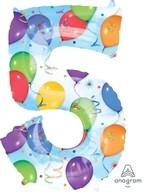 Balónky fóliové narozeniny číslo 5 motiv balónky 86cm