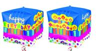 Foliový balónek narozeniny kostka 38x38x38cm