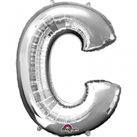 Písmena C stříbrné foliové balónky 63cm x 81cm