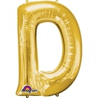 Písmena D zlaté foliové balónky 60cm x 83cm
