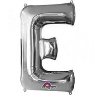 Písmena E stříbrné foliové balónky 53cm x 81cm