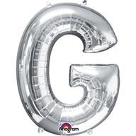 Písmena G stříbrné foliové balónky 63cm x 81cm