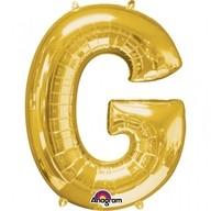 Písmena G zlaté foliové balónky 63cm x 81cm