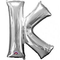 Písmena K stříbrné foliové balónky 66cm x 83cm