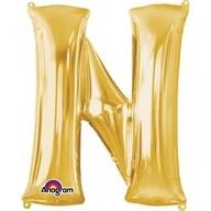 Písmena N zlaté foliové balónky 60cm x 81cm