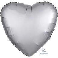 Balónek srdce foliové satén stříbrné 43 cm