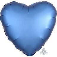 Balónek srdce foliové satén modrý 43 cm