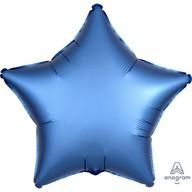 Balónek hvězda foliová satén modrá 43 cm