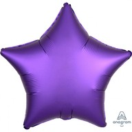 Balónek hvězda foliová satén fialová 43 cm