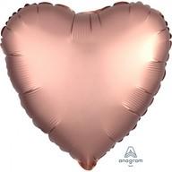 Balónek srdce foliové satén Copper 43 cm