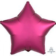 Balónek hvězda foliová satén tmavě červená 43 cm