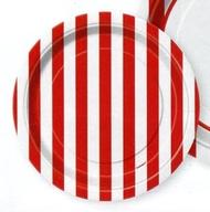 Talíře červený proužek 8ks 18cm
