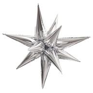 Hvězda stříbrná 70 cm 3D foliový balón
