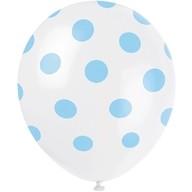 Balónky bílé s puntíky světle modré 6ks