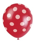 Balónky červené s puntíky 6ks