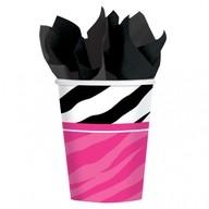 Zebra party kelímek papírový 8ks 266ml