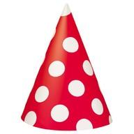 Čepice červeno - bílé 8ks