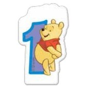 Medvídek Pú dortová svíčka s číslem 1