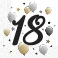Ubrousky číslo 18 šťastné narozeniny 20 ks 33 cm x 33 cm