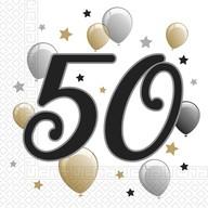 Ubrousky číslo 50 narozeniny 20 ks 33 cm x 33 cm