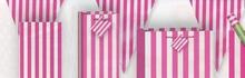 Vlajka růžovo - bílý proužek  3,65m