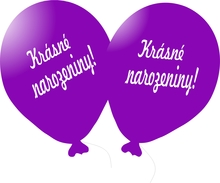 Balónek fialový Krásné narozeniny!