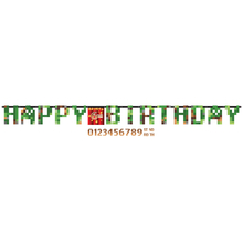 Minecraft - TNT narozeniny nápis 320 cm x 25,4 cm + čísla k nalepení