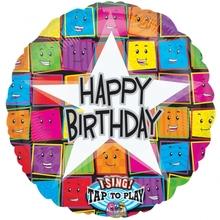 Hrající fóliový balónek šťastné narozeniny 71cm