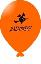 Čarodějnice na koštěti balónek oranžový