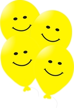 Balonky s potiskem smajlik 5ks žluté