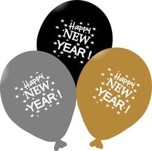 Balónky Happy New Year 2020 mix 5ks černé a stříbrné balónky