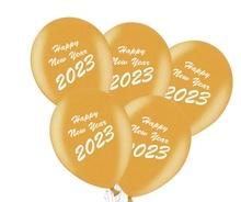 Balónky Happy New Year 2018 mix 5ks černé a zlaté balónky