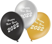 Balónky Happy New Year 2018 mix 5ks bílé a stříbrné balónky