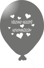 Balónky svatební - Silver 061 s bílým potiskem