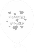 Balónky svatební - Pearl 070 s šedým potiskem