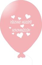 Balónky svatební - Pink 071 s bílým potiskem