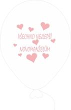 Balónky svatební - bílé s růžovým potiskem